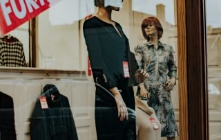 A window display with mannequins