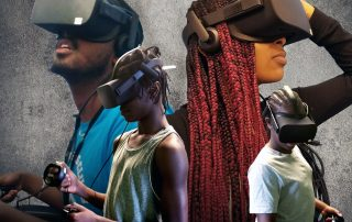 Four people wearing virtual reality headsets