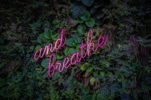 "Greenery wall with ""and breathe"" in neon writing"
