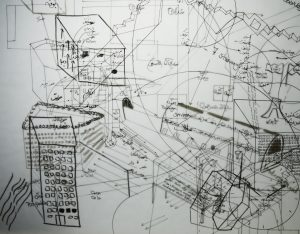 A black and white image of overlaid hand-drawn maps on transparent paper framed in a lightbox. The image contains various forms and shapes (ie. circles, half circles, squares, cubes, etc.). Parts of the map include artists' notes and sentences written in Farsi or English. As a result of overlaying 5 transparent papers on top of eachother, parts of the map is blurry because they are under other parts.