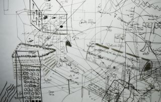 A black and white image of overlaid hand-drawn maps on transparent paper framed in a lightbox. The image contains various forms and shapes (ie. circles, half circles, squares, cubes, etc.). Parts of the map include artists' notes and sentences written in Farsi or English. As a result of overlaying 5 translucent papers on top of each other, parts of the map are blurry because they are under other layers.