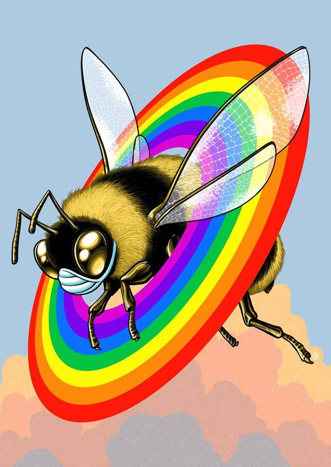 Fringe Montreal 2021 - illustration of a bee surrounded by a rainbow halo against the backdrop of a sky and clouds at sunrise