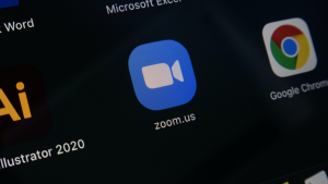 Black background with the icon for the Zoom app
